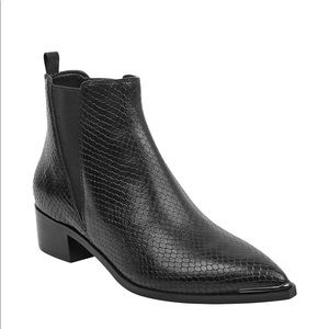 Marc Fisher LTD Yale black snake leather booties 8